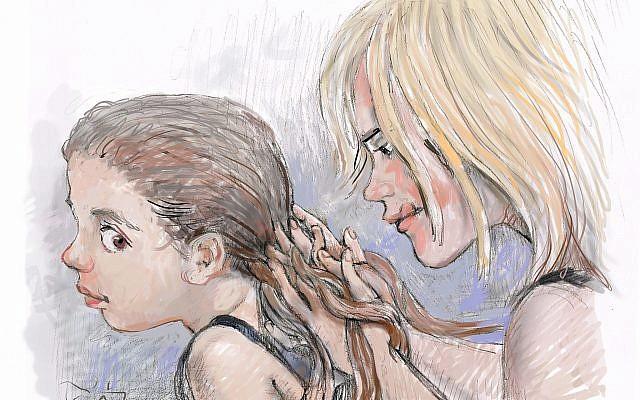 """Mama, will you braid my hair?""  Illustration by Avi Katz"