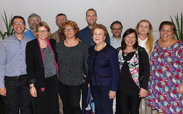 Members of the Shadarim — Back row, from left: Marcelo Benveniste (Argentina), Eliezer Papo (Executive Committee Member of National Authority of Ladino, Israel), Bryan Kirschen (United States), Henri Çiprut (Turkey), Berta Romano (Macedonia); Front row, from left: Can Evrensel (Turkey), Katja Šmid (Spain), Jagoda Večerina (Croatia), Daisy Braverman (United States), Liliana Benveniste (Argentina), Karen Sarhon (Turkey)