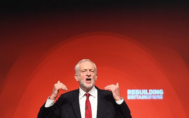 Labour leader Jeremy Corbyn giving his keynote speech at the party's annual conference, October 2018. (Stefan Rousseau/PA Wire via Jewish News)