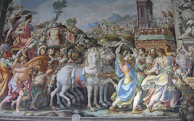 Francesco Salviati, 'Triumph of  Furius Camillus,' Fresco on the east wall of the Sala dell'Udienza, Palazzo Vecchio, Florence. (Public Domain/ Wikimedia Commons)