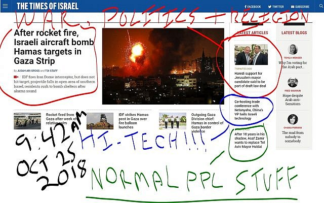 © Times of Israel homepage 25/10/18, 09:42  Opened at random when writing this article, specifically for the purpose of documenting what's happening in Israel at any random time of the day (colorful text added separately with no consent from timesofisrael.com)