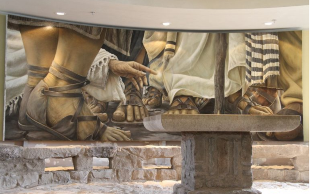 Subtle painting that lines one wall of the chapel at Magdala. (courtesy)