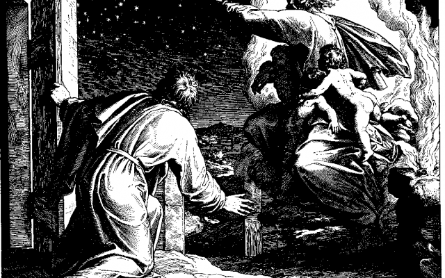 God tells Abraham his offspring will be as numerous as the stars in the sky – yet Abraham is childless. God puts Abraham in a tough spot: believe Me or believe reality. (Woodcut by Julius Schnorr von Carolsfeld from the 1860 Bible in Pictures)