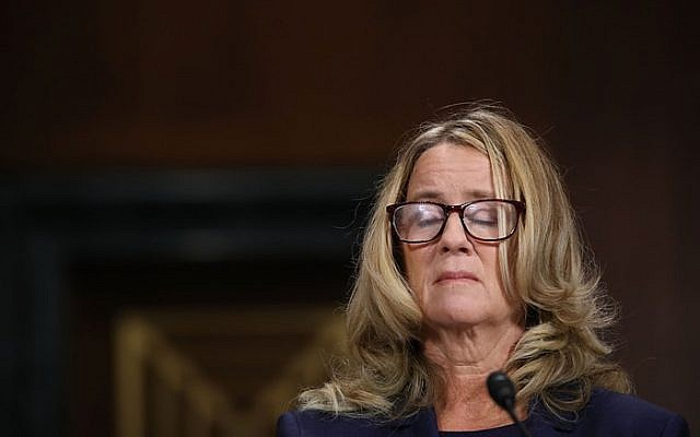 Christine Blasey Ford, before the Senate Judiciary Committee, September 27, 2018 on Capitol Hill in Washington, DC.