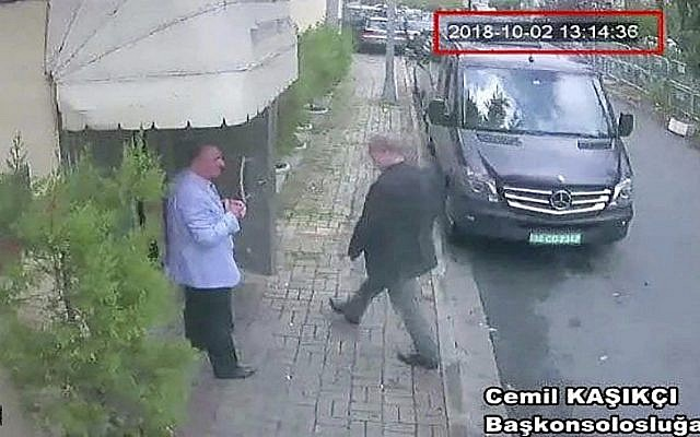 This image taken from CCTV video obtained by the Turkish newspaper Hurriyet claims to show Saudi journalist Jamal Khashoggi entering the Saudi consulate in Istanbul, October 2, 2018. (CCTV/ Hurriyet via AP)