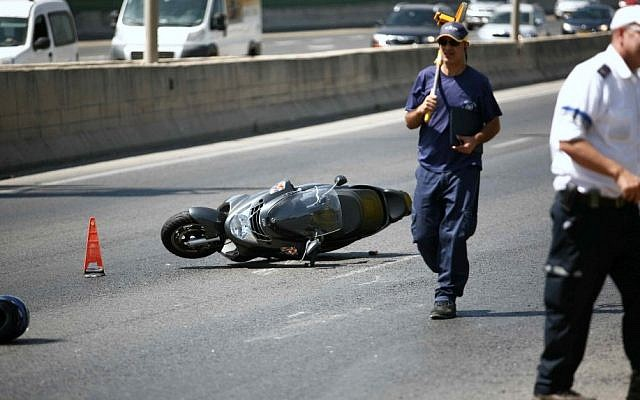 Illustrative: A motorcycle after an accident. (Yehoshua Yosef/Flash90)