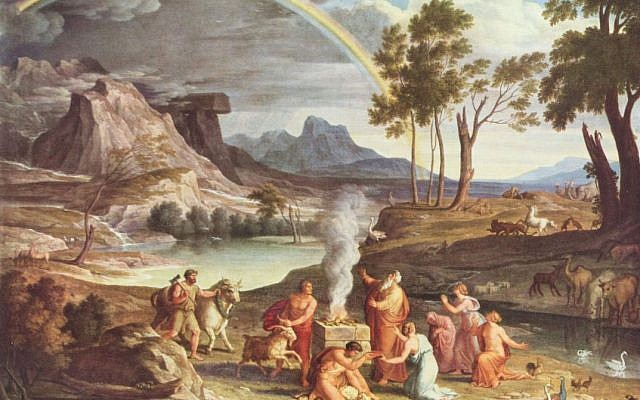 "The flood over and man and animal back on dry land, God reconciles Himself with the reality that parts of human nature are beyond His ability to control or repair. (""Landscape with Sacrifice of Noah"" by Josef Anton Koch, 1803.)"