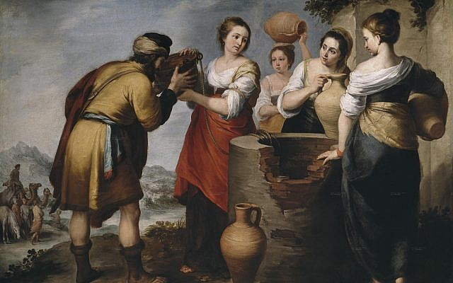 The character of God, until now always at the fore, recedes to the background. A far cry from Creation or the flood, God is now felt in smaller, but critically important, ways from the perspective of the individual.  Rebecca and Eliezer by Bartolomé Esteban Murillo, 17th century.