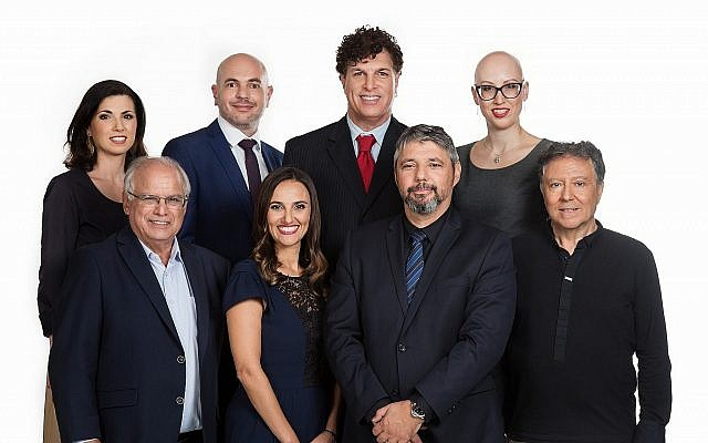 Illustrative. Candidates on the Olim Beyahad list for the 2018  Tel Aviv municipal elections. Bottom row, left to right: Gerard Pomper, Sendy Ben-Hamo, Oliver Rafovitz, Jack Amoyal. Top row, left to right: Vika Kanar, Boris Shindler, LiAmi Lawrence , Marina Soyfer. (Edward Stern, via The TImes of Israel)