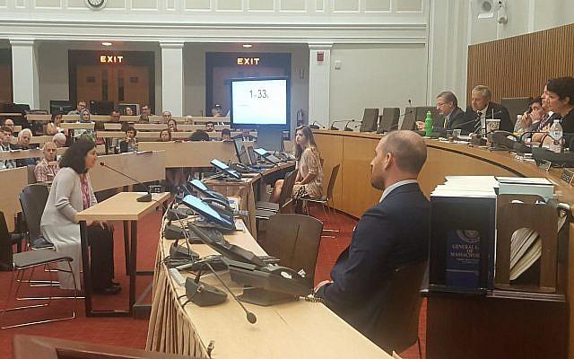 Israeli-American Yael Michaeli testifies in a joint Senate and House committee hearing in support of anti-BDS legislation in Boston, Massachusetts. July 2017.