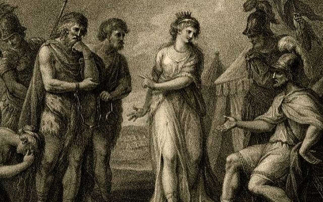 Cartimandua, Queen of the Brigantes delivers Caractacus, King of the Silures, to the Roman General Ostorius,, by Francesco Bartolozzi (Public doman/ Wikimedia Commons)