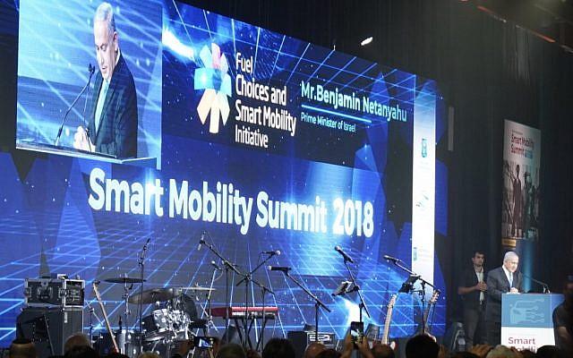 Prime Minister Benjamin Netanyahu addressing the Smart Mobility 2018 Summit in Tel Aviv; Oct. 29, 2018