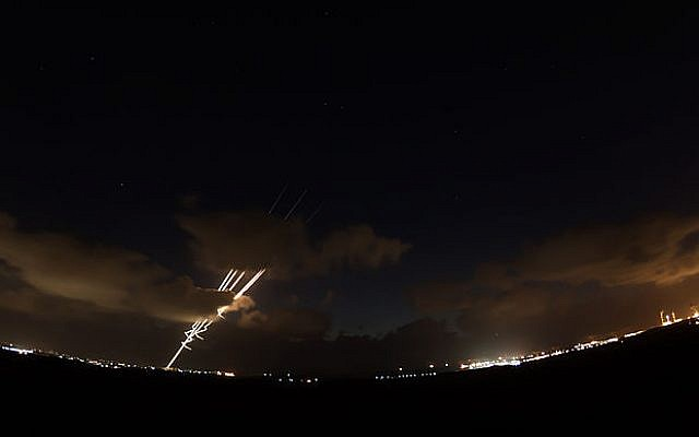 Rockets being fired from Gaza into Israel in 2014. (Source: IDF)