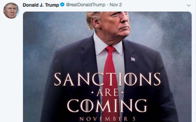President Donald Trump's tweet about sanction on Iran.