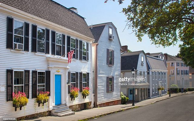 View of the historic buildings in the town of Marblehead, Massachussetts, USA.