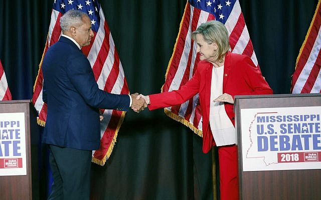 Illustrative. After a campaign debate, US Senator Cindy Hyde-Smith, R-Miss., with former opponent Democrat Mike Espy, during their televised Mississippi US Senate debate in Jackson, Missippi. November 20, 2018. (AP Photo/Rogelio V. Solis, Pool)