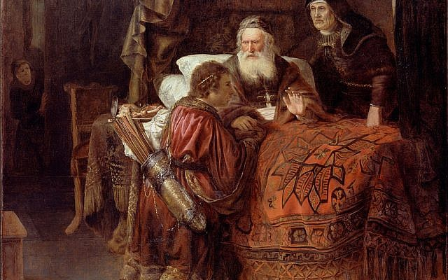 """God says Jacob will be master but deliberately has him born second, leaving Jacob with God-endowed human struggle: getting from where you are to where you are """"supposed"""" to be. (Isaac blessing Jacob by Gerrit Willemsz Horst, Holland, c.1612 - 1652)"""