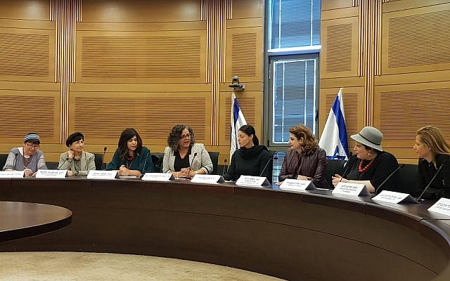 Illustrative. The first lobby of ultra-Orthodox women, initiated by Nivcharot, at the Knesset. May 2018. (courtesy, Nancy Strichman)
