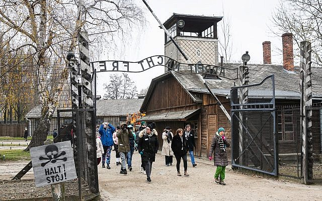 Students on the Holocaust Educational Trust (HET)/UJS Lessons from Auschwitz Universities Project, visiting Auschwitz. Photo credit: Yakir Zur - via Jewish News