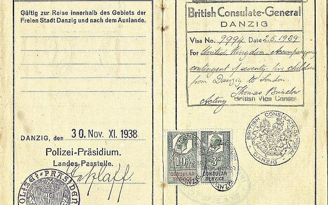 Visa issued to a Jewish woman who accompanied a Kinder to the UK