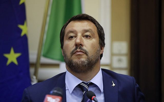 Italy's Interior Minister and Deputy-Premier Matteo Salvini attends a news conference after meeting Hungary's Prime Minister Viktor Orban, in Milan, Italy, August 28, 2018. (AP Photo/Luca Bruno)