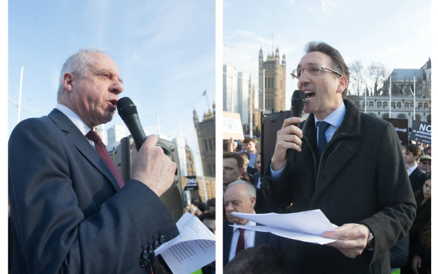 Jonathan Arkush, former Board of Deputies President and Jonathan Goldstein, Jewish Leadership Council chairman at the #EnoughIsEnough rally Credit: Marc Morris