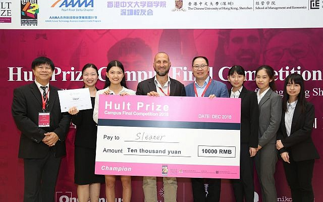 Sleaner won the first prize in this year's Hult Prize Campus Final Competition held in Shenzhen. Their project involves recycling marine waste into wearable commodities. Photo: CUHKSZ