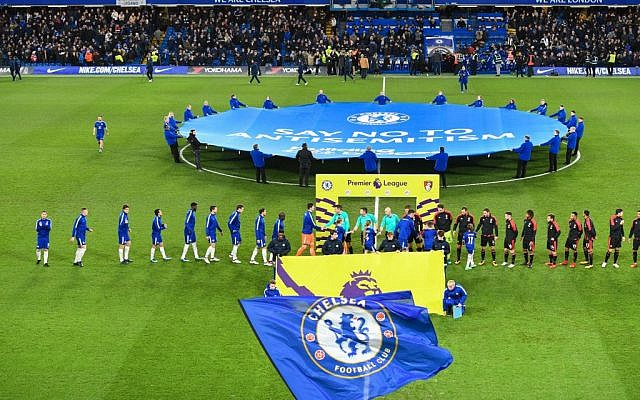 Chelsea launched its campaign to tackle anti-Semitism ahead their match against Bournemouth in January 2018 (Via Jewish News)