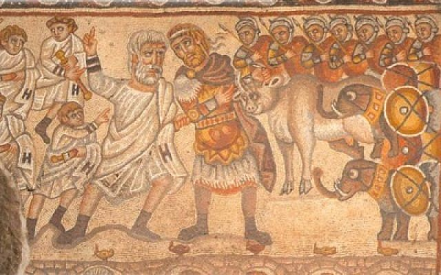 The Huqoq 'Alexander Mosaic', which actually portrays bar Kamza (King Manu VI of Edessa) giving a calf offering from Nero to the Jerusalem rabbis.