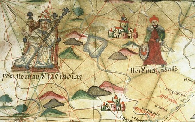 Prester John of the Indies. Close-up from a portolan chart. (CC BY, The Bodleian Libraries, Oxford/ Wikimedia Commons)