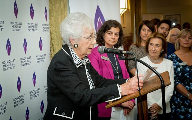 Survivor of the Holocaust, Helen Aronson, speaks at the HMD 2019 reception (Credit HMDT - Via Jewish News)