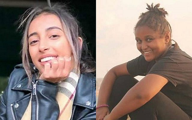 Yara Ayoub, 16, from the Galilee village of Jish, left, and Sylvana Tsegai, 13, who was found dead Tel Aviv. Both were found murdered on November 26, 2018.  (Hadashot screen capture, courtesy)