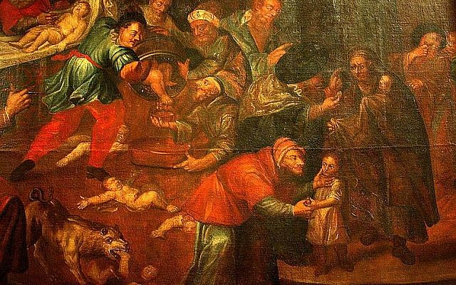 A painting from the Sandomierz Cathedral that depicts a blood libel, ritual murder of Christian children by Jews (Karol de Prevot, 18th century, through Wikimedia Commons).