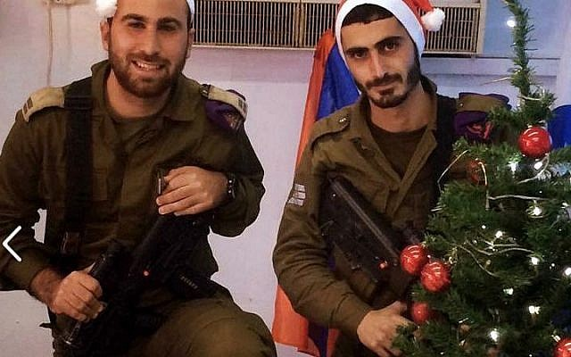 Christian-Arab Israeli soldiers celebrate Christmas