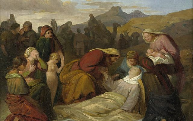 """As he is about to leave for Egypt, God speaks to Jacob reassuringly, promising to accompany him. For Jacob, for whom life is one long, lonely struggle, God can't help but offer to be there with him. (""""The death of Rachel after the birth of Benjamin"""" by Gustav Metz, Germany, 1847)."""