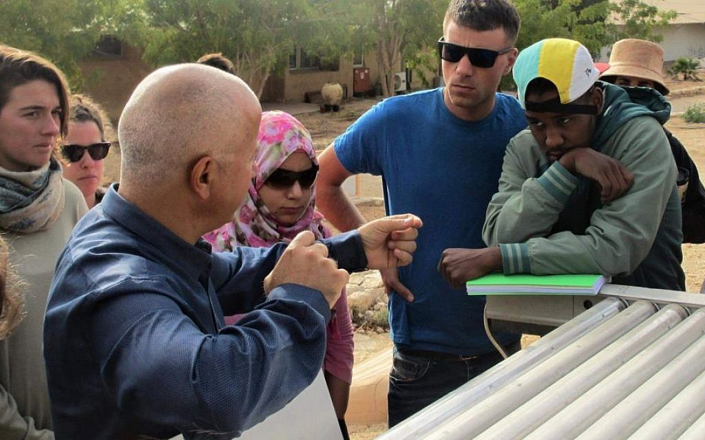 Arava Institute students on an alternative energy tour. (Courtesy)
