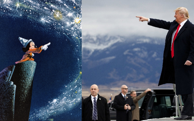 Mickey Mouse, as the legendary sorcerer's apprentice in the Walt Disney flagship cartoon movie Fantasia, next to a recent image of US President Donald Trump (here seen at his arrival for a campaign rally at Bozeman Yellowstone International Airport on November 3, 2018, in Belgrade, Montana. An AP Photo/Evan Vucci via Times of Israel)