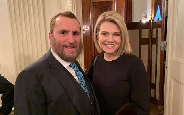 Rabbi Shmuley Boteach and Heather Nauert, December 21, 2018. (Facebook)