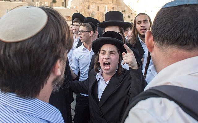 Ultra-Orthodox protest at Women of the Wall event. Photo credit - Emil Salman