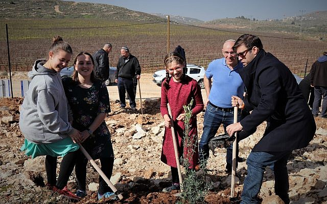 MK Oren Hazan joins planting event to build hope in displaced residents of Amona, Ofra, Netiv HaAvot, and Kfar Tapuach Photo by: Shannon Nuszen