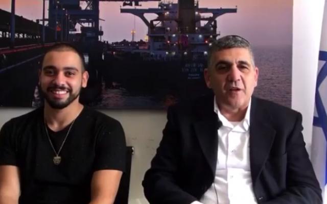 Hebron shooter Elor Azaria (left) alongside Likud MK Yaron Mazuz (Facebook video screenshot)