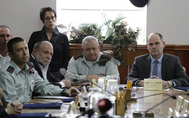 Illustrative: Outgoing IDF chief of staff Gadi Eisenkot (C) participates in weekly cabinet meeting in Jerusalem on January 13, 2018. (Ariel Schalit / Pool / AFP)