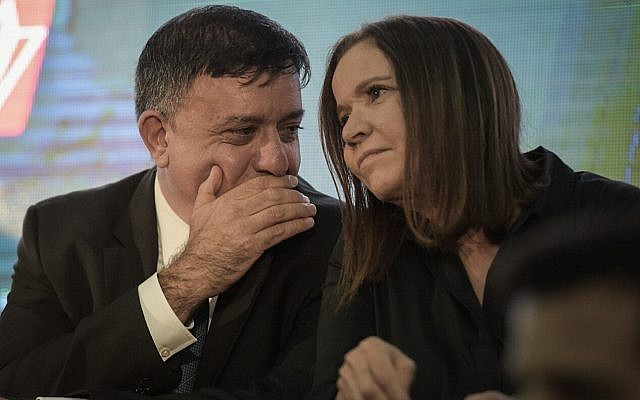 Illustrative. Labor Party leader Avi Gabbay and MK Shelly Yachimovich at the Labor conference in Tel Aviv on September 14, 2017. (Flash90)