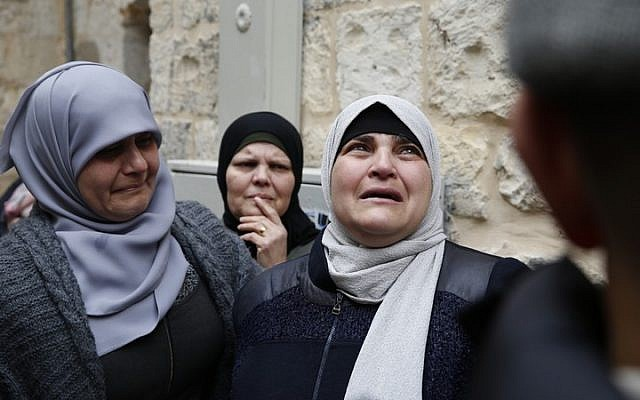Members of the Abu Assab family seen after being evicted from their home by Israeli police in Jerusalem's Old City, February 17, 2019. (Activestills.org). Published in 972mag.com (Feb. 18, 2019)