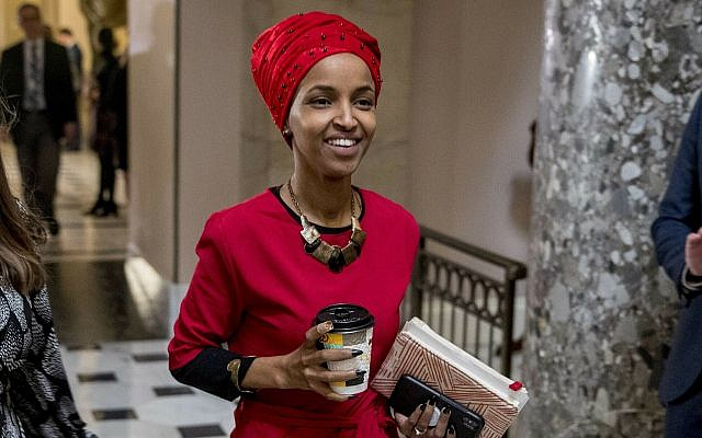 Rep. Ilhan Omar, D-Minn., walks through the halls of the Capitol Building in Washington, Dc, on January 16, 2019. (AP/Andrew Harnik, via The Times of Israel)