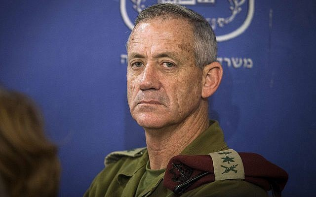 In this photo from July 31, 2014, then IDF Chief of Staff Lt. Gen. Benny Gantz attends a cabinet meeting at the Defense Ministry in Tel Aviv. (AP Photo/Dan Balilty, Pool, File)
