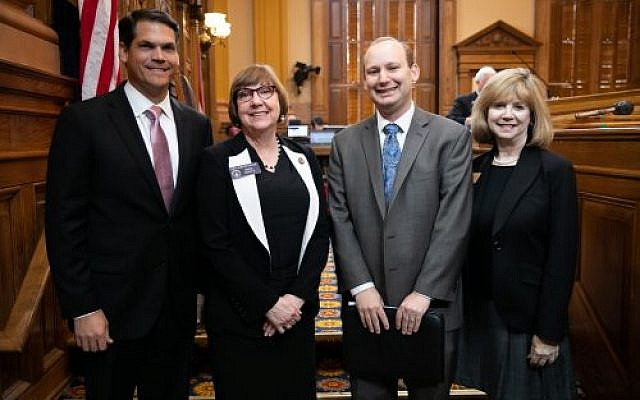 Pictured left to right, Lieutenant Governer, Goeff Duncan, District 32 State Senator, Kay Kirkpatrick, Rabbi Daniel Dorsch and Sally N. Levine, Executive Director of the Georgia Commission on the Holocaust