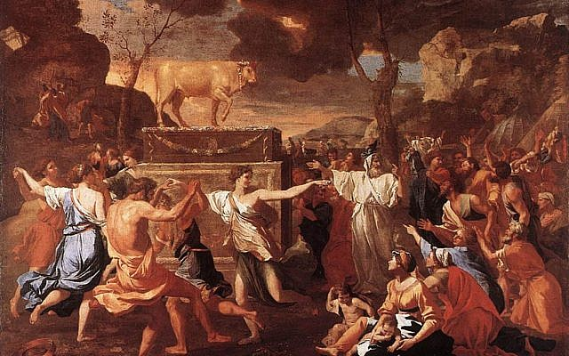 The Adoration of the Golden Calf, by Nicolas Poussin, c. 1634. (Wikipedia)