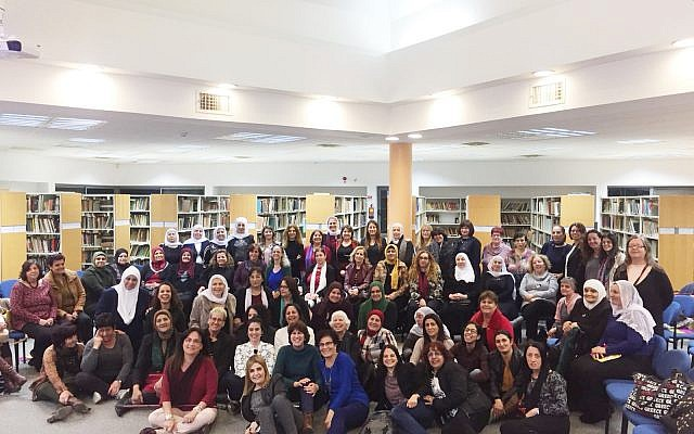 Participants of the community action groups at a national workshop 'Women Leading Change', sponsored by Adva Center, Naamat and Union of Advisors on the Status of Women. Givat Haviva, February 2018 (Courtesy of Adva Center).