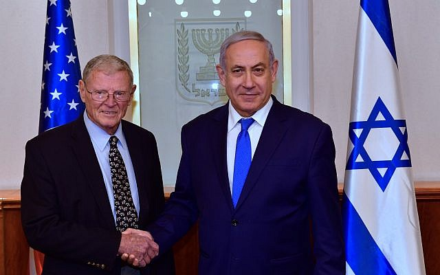 US Sen. Jim Inhofe meets Prime Minister Benjamin Netanyahu in Jerusalem, Feb. 19, 2019 (Courtesy)